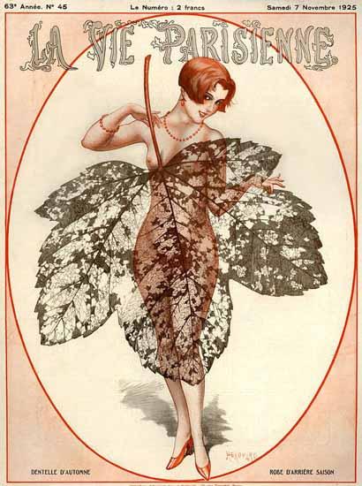 Roaring 1920s La Vie Parisienne 1925 Dentelle D Automne | Roaring 1920s Ad Art and Magazine Cover Art