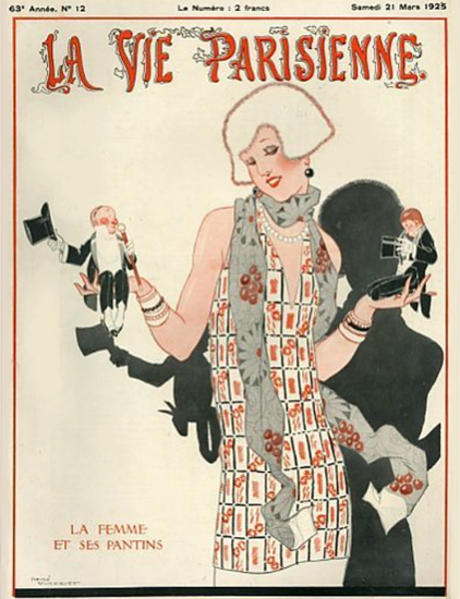 Roaring 1920s La Vie Parisienne 1925 La Femme Et Ses Pantins | Roaring 1920s Ad Art and Magazine Cover Art