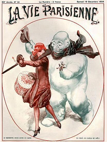 Roaring 1920s La Vie Parisienne 1925 Le Bonhomme Hiver | Roaring 1920s Ad Art and Magazine Cover Art