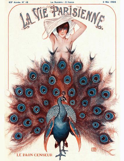 Roaring 1920s La Vie Parisienne 1925 Le Paon Censeur Georges Leonnec | Roaring 1920s Ad Art and Magazine Cover Art
