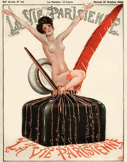Roaring 1920s La Vie Parisienne 1925 Octobre 31 Georges Leonnec B   Roaring 1920s Ad Art and Magazine Cover Art