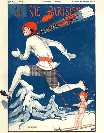 Roaring 1920s La Vie Parisienne 1925 Ski-Joring | Roaring 1920s Ad Art and Magazine Cover Art