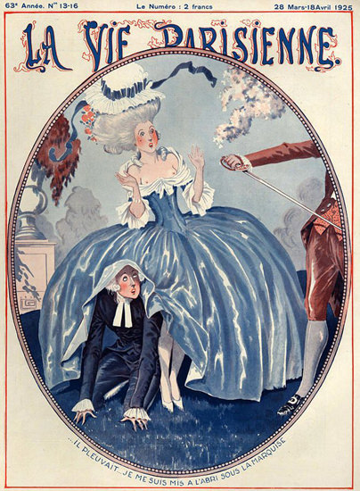 Roaring 1920s La Vie Parisienne 1925 Sous La Marquise Georges Leonnec | Roaring 1920s Ad Art and Magazine Cover Art