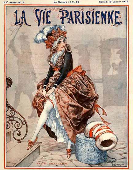Roaring 1920s La Vie Parisienne 1925 Un Appel Dans La Brume | Roaring 1920s Ad Art and Magazine Cover Art