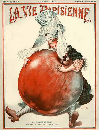 Roaring 1920s La Vie Parisienne 1925 Une Cueilleuse De Pommes   Roaring 1920s Ad Art and Magazine Cover Art