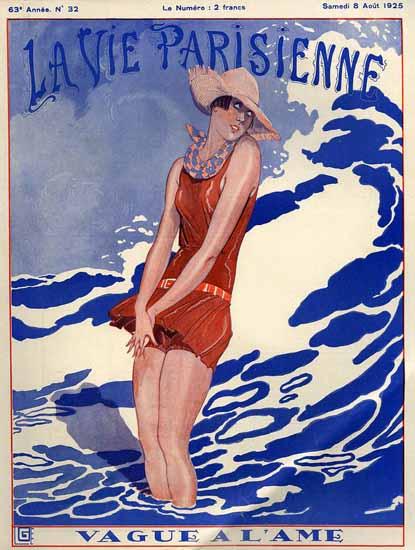 Roaring 1920s La Vie Parisienne 1925 Vague A L Ame | Roaring 1920s Ad Art and Magazine Cover Art