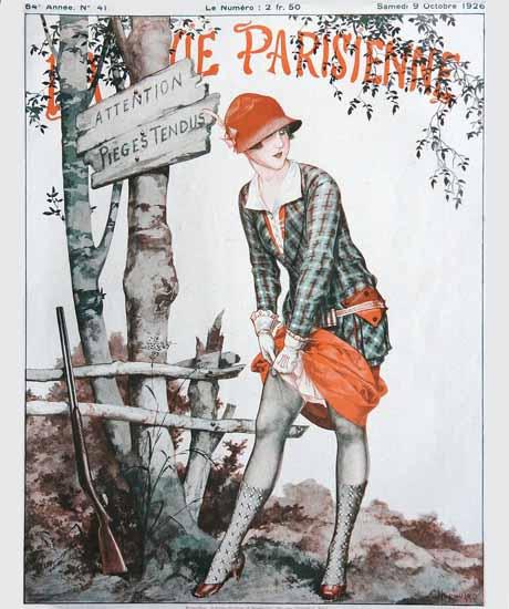 Roaring 1920s La Vie Parisienne 1926 Attention Pieges Tendus | Roaring 1920s Ad Art and Magazine Cover Art
