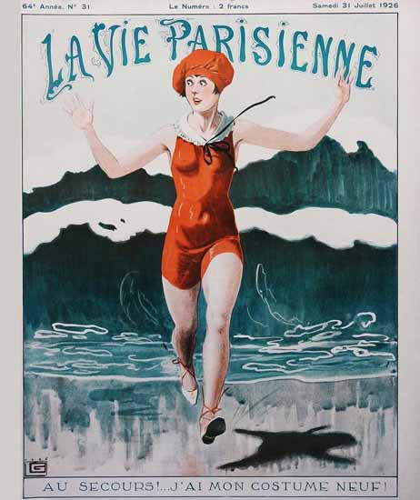 Roaring 1920s La Vie Parisienne 1926 Au Secours | Roaring 1920s Ad Art and Magazine Cover Art