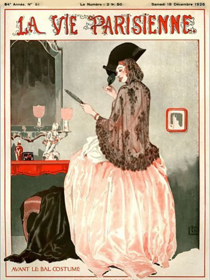 Roaring 1920s La Vie Parisienne 1926 Avant Le Bal Costume | Roaring 1920s Ad Art and Magazine Cover Art