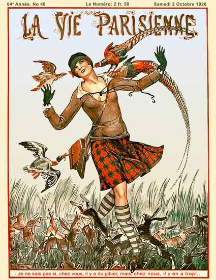 Roaring 1920s La Vie Parisienne 1926 Il Y A Du Gibier   Roaring 1920s Ad Art and Magazine Cover Art
