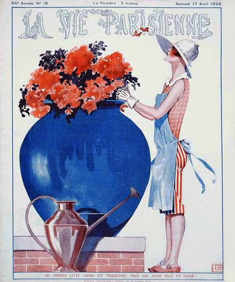 Roaring 1920s La Vie Parisienne 1926 Jeune Fille En Fleur | Roaring 1920s Ad Art and Magazine Cover Art