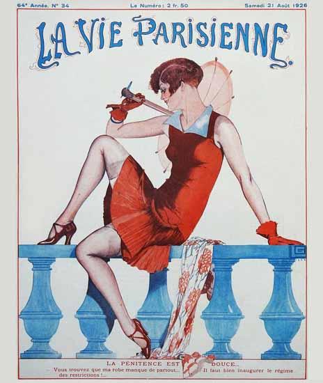 Roaring 1920s La Vie Parisienne 1926 La Penitence | Roaring 1920s Ad Art and Magazine Cover Art