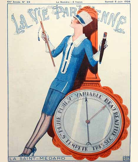 Roaring 1920s La Vie Parisienne 1926 La Saint-Medard | Roaring 1920s Ad Art and Magazine Cover Art