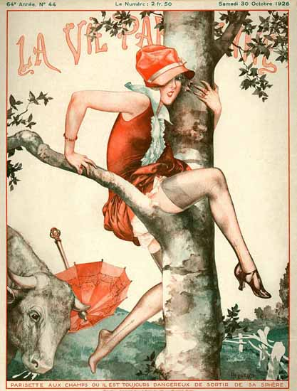 Roaring 1920s La Vie Parisienne 1926 Parisette Aux Champs | Roaring 1920s Ad Art and Magazine Cover Art