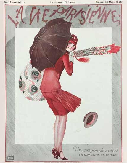Roaring 1920s La Vie Parisienne 1926 Rayon De Soleil Georges Leonnec   Roaring 1920s Ad Art and Magazine Cover Art