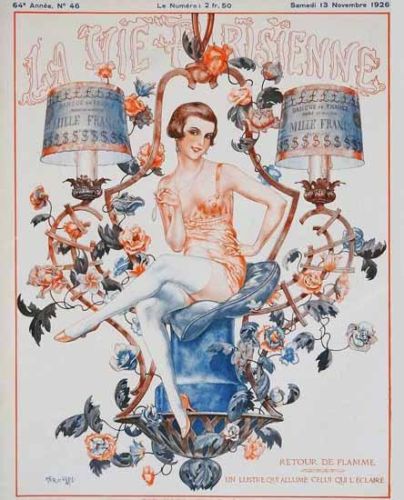 Roaring 1920s La Vie Parisienne 1926 Retour De Flamme | Roaring 1920s Ad Art and Magazine Cover Art