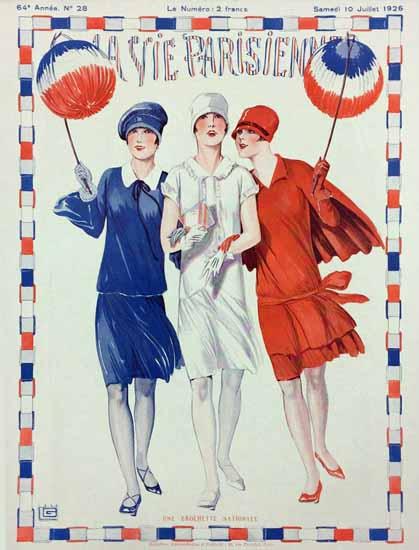 Roaring 1920s La Vie Parisienne 1926 Une Brochette Nationale | Roaring 1920s Ad Art and Magazine Cover Art
