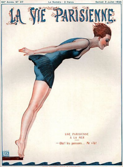 Roaring 1920s La Vie Parisienne 1926 Une Parisiennen A La Mer   Roaring 1920s Ad Art and Magazine Cover Art