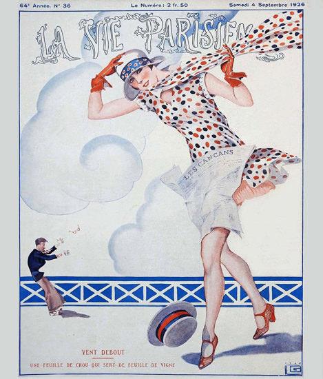 Roaring 1920s La Vie Parisienne 1926 Vent Debout Georges Leonnec | Roaring 1920s Ad Art and Magazine Cover Art