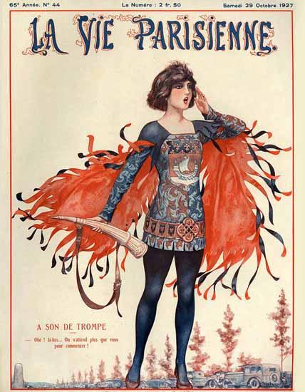Roaring 1920s La Vie Parisienne 1927 A Son De Trompe | Roaring 1920s Ad Art and Magazine Cover Art