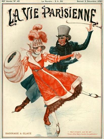 Roaring 1920s La Vie Parisienne 1927 Badinage A Glace | Roaring 1920s Ad Art and Magazine Cover Art