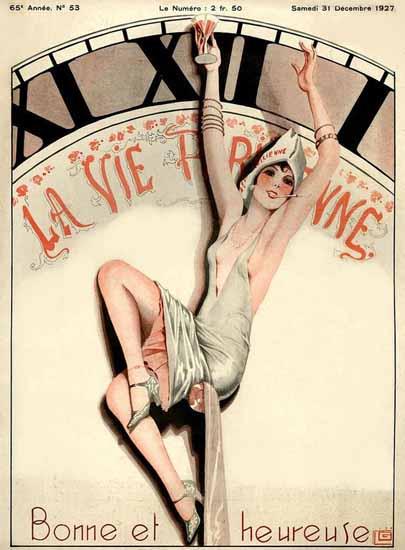 Roaring 1920s La Vie Parisienne 1927 Bonne Et Heureuse | Roaring 1920s Ad Art and Magazine Cover Art
