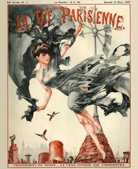 Roaring 1920s La Vie Parisienne 1927 Changement De Temps   Roaring 1920s Ad Art and Magazine Cover Art