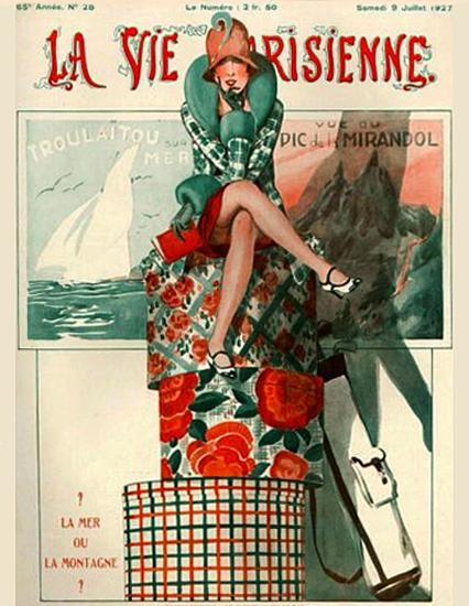 Roaring 1920s La Vie Parisienne 1927 La Mer Ou La Montagne | Roaring 1920s Ad Art and Magazine Cover Art