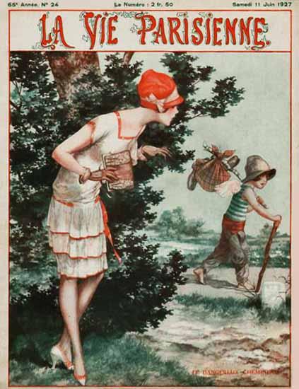 Roaring 1920s La Vie Parisienne 1927 Le Dangereux Chemin | Roaring 1920s Ad Art and Magazine Cover Art