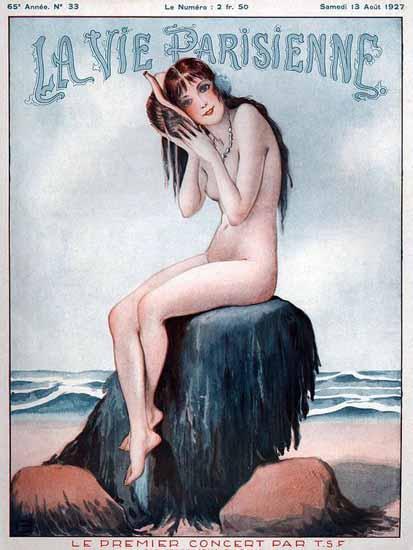 Roaring 1920s La Vie Parisienne 1927 Le Premier Concert Par TSF | Roaring 1920s Ad Art and Magazine Cover Art