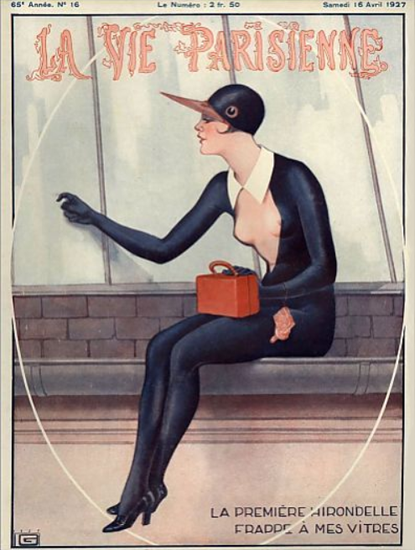 Roaring 1920s La Vie Parisienne 1927 Les Premiere Hirondelle | Roaring 1920s Ad Art and Magazine Cover Art
