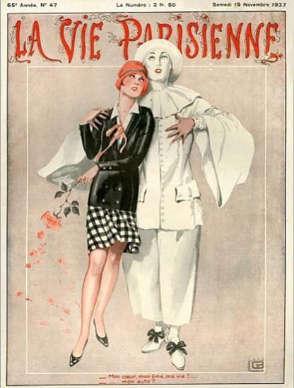 Roaring 1920s La Vie Parisienne 1927 Mon Cœur Mon Auto | Roaring 1920s Ad Art and Magazine Cover Art