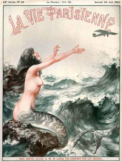 Roaring 1920s La Vie Parisienne 1927 Nouvel Ulysse Et Les Sirenes | Roaring 1920s Ad Art and Magazine Cover Art