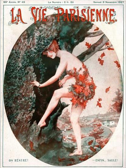 Roaring 1920s La Vie Parisienne 1927 On Rentre | Roaring 1920s Ad Art and Magazine Cover Art