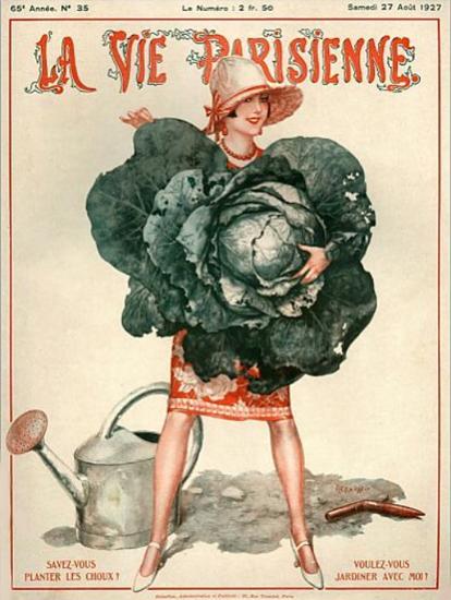 Roaring 1920s La Vie Parisienne 1927 Planter Les Coux | Roaring 1920s Ad Art and Magazine Cover Art