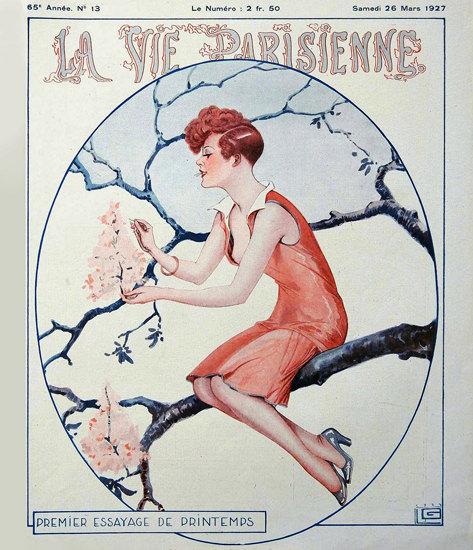 Roaring 1920s La Vie Parisienne 1927 Premier Essayage De Printemps Georges Leonnec | Roaring 1920s Ad Art and Magazine Cover Art