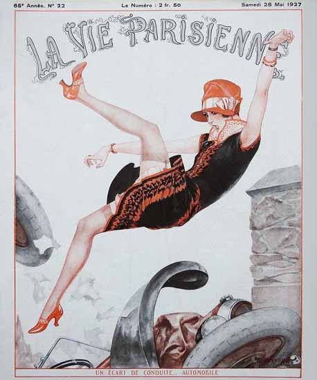 Roaring 1920s La Vie Parisienne 1927 Un Ecart De Conduite | Roaring 1920s Ad Art and Magazine Cover Art