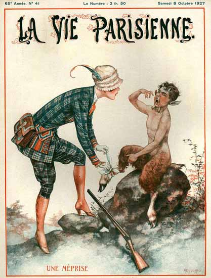 Roaring 1920s La Vie Parisienne 1927 Un Meprise | Roaring 1920s Ad Art and Magazine Cover Art