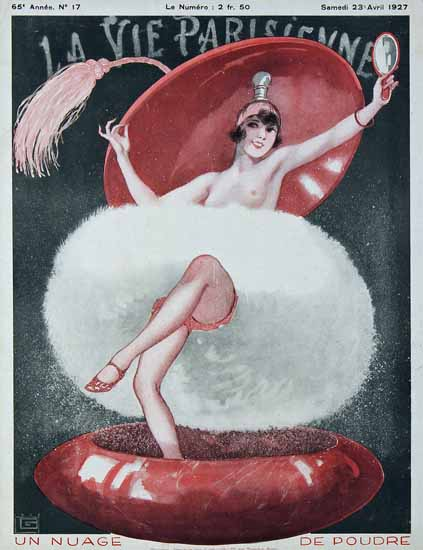 Roaring 1920s La Vie Parisienne 1927 Un Nuage De Poudre | Roaring 1920s Ad Art and Magazine Cover Art