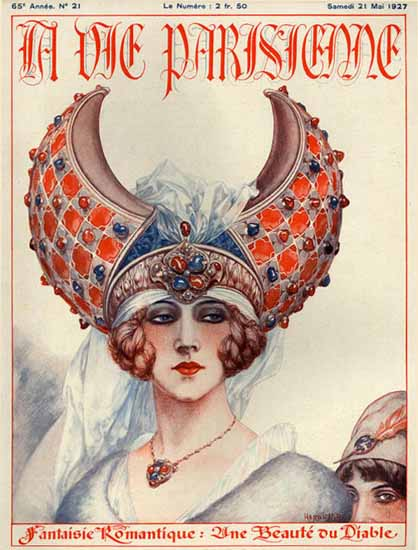 Roaring 1920s La Vie Parisienne 1927 Une Beaute Du Diable | Roaring 1920s Ad Art and Magazine Cover Art