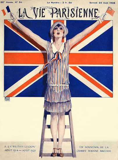 Roaring 1920s La Vie Parisienne 1928 A La British Legion | Roaring 1920s Ad Art and Magazine Cover Art