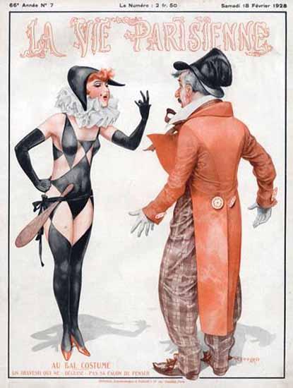 Roaring 1920s La Vie Parisienne 1928 Au Bal Costume | Roaring 1920s Ad Art and Magazine Cover Art