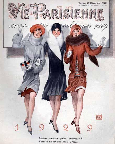 Roaring 1920s La Vie Parisienne 1928 Avec Les Meilleurs Voeux 1929 | Roaring 1920s Ad Art and Magazine Cover Art
