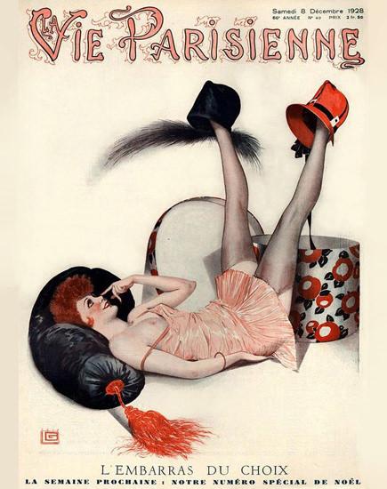Roaring 1920s La Vie Parisienne 1928 Embarras Choix Georges Leonnec | Roaring 1920s Ad Art and Magazine Cover Art