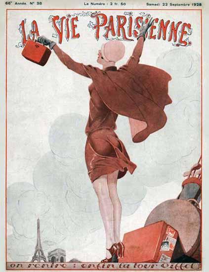 Roaring 1920s La Vie Parisienne 1928 Enfin La Tour Eiffel | Roaring 1920s Ad Art and Magazine Cover Art