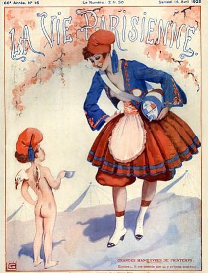 Roaring 1920s La Vie Parisienne 1928 Grandes Manoeuvres De Printemps | Roaring 1920s Ad Art and Magazine Cover Art