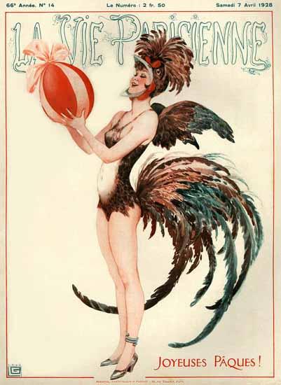 Roaring 1920s La Vie Parisienne 1928 Joyeuses Paques | Roaring 1920s Ad Art and Magazine Cover Art