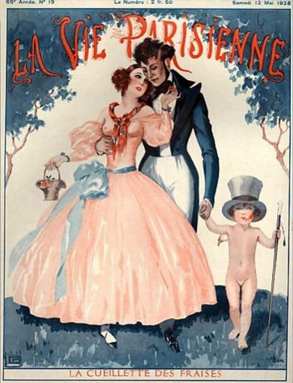 Roaring 1920s La Vie Parisienne 1928 La Cueillette Des Fraises   Roaring 1920s Ad Art and Magazine Cover Art