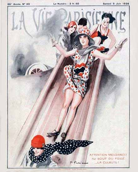 Roaring 1920s La Vie Parisienne 1928 La Culbute | Roaring 1920s Ad Art and Magazine Cover Art