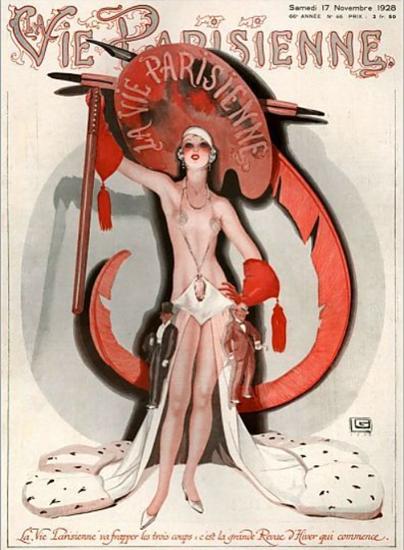 Roaring 1920s La Vie Parisienne 1928 La Grande Revue D Hiver | Roaring 1920s Ad Art and Magazine Cover Art
